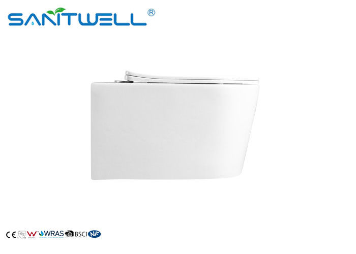 Rimless Ceramic Wall Mounted Toilet Gravity Flushing With White Color